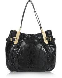 MICHAEL Michael Kors Black Python-effect Patent-leather Tote
