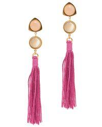 Lizzie Fortunato | Pink Hibiscus Tassel Earrings | Lyst