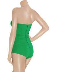 Willow Green Strapless Stretch Crepe-Jersey Bodysuit