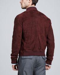 Brunello Cucinelli Purple Suede Bomber Jacket for men