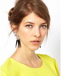 ASOS - Multicolor Brooch Spike Earrings - Lyst