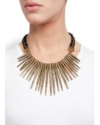 Mango - Metallic Embossed Spikes Necklace - Lyst
