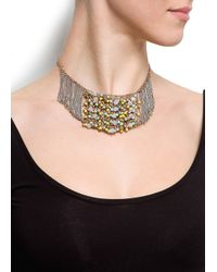 Mango - Metallic Touch Chains and Beads Necklace - Lyst