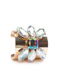 Mango - Metallic Touch Crystal Embellished Cuff - Lyst