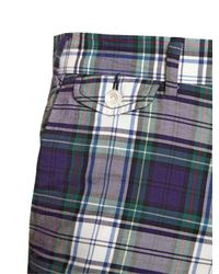 Ralph Lauren Blue Label Blue Checked Cotton Poplin Slim Fit Shorts for men