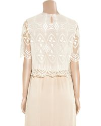 The Row | White Slevly Embroidered Tulle Cropped Blouse | Lyst