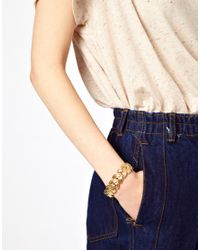 ASOS - Metallic Linked Leaf Bracelet - Lyst