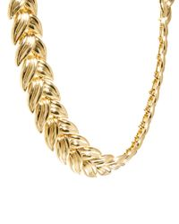ASOS | Metallic Linked Leaf Necklace | Lyst