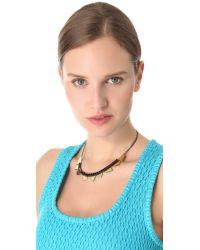 Iosselliani Black Delicate Rhinestone Bib Necklace