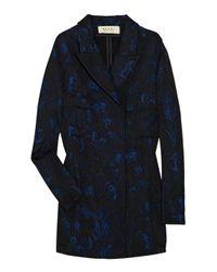 Marni Blue Brocade Matelasse Coat