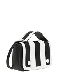 Moschino Black Mini Gloria Striped Nappa Leather Bag
