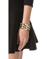 Noir Jewelry - Metallic Triple Pyramid Stud Bracelet - Lyst