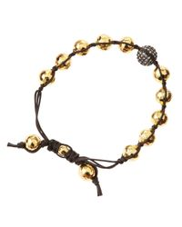 Tai | Brown Golden Hammered Bead Bracelet | Lyst