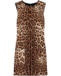Dolce & Gabbana | Brown Leopard-print Tweed Mini Dress | Lyst