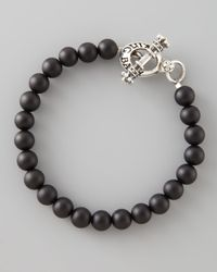 King Baby Studio | Black Onyx Bead Bracelet with Logo Toggle for Men | Lyst