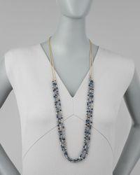 Nakamol Blue Threestrand Beaded Necklace