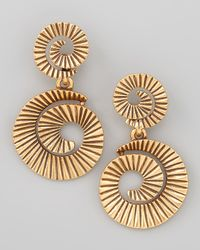 Oscar de la Renta | Metallic Goldplate Spiral Earrings | Lyst