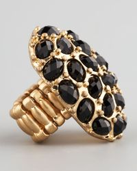 Panacea - Black Crystal Stretch Ring - Lyst