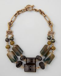 Stephen Dweck Brown Doublestrand Green Agate Necklace