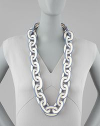 Tory Burch - Blue Paintededge Resin Link Necklace - Lyst