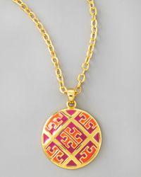 Tory Burch Metallic Enamel Tpattern Pendant Necklace Orangepink
