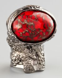 Saint Laurent - Metallic Red Glass Arty Ring - Lyst
