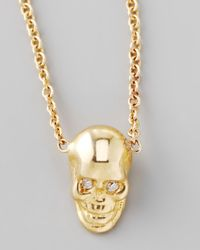 Zoe Chicco | Metallic Yellow Gold Skull Pendant Necklace | Lyst