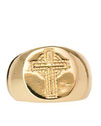 ASOS - Metallic Asos Cross Signet Ring for Men - Lyst
