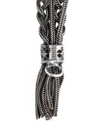 Emanuele Bicocchi - Metallic Woven Silver Multiple Chain Bracelet for Men - Lyst