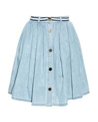 Mulberry | Blue Pleated Denim Skirt | Lyst