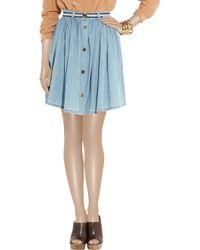 Mulberry - Blue Pleated Denim Skirt - Lyst
