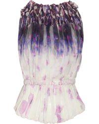 Nina Ricci Purple Openback Printed Silkchiffon Top