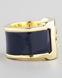 Tory Burch Patent Leather Band Ring Blue