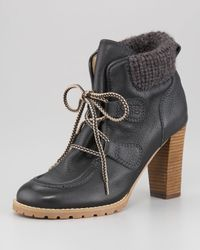 See By Chloé Brown Knit Cuff Lace-up Bootie