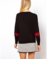 ASOS Collection | Black Asos Jumper with Star Elbow Patches | Lyst