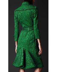 Burberry Prorsum Green Kickback Lace Trench Coat