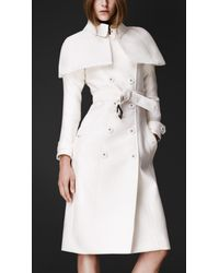 Burberry Prorsum | White Double Duchess Caped Trench Coat | Lyst