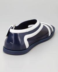 Prada Blue Runway Leather Contrast Sandal for men