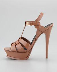 Saint Laurent Tribute Patent Platform Sandal, Dark Nude