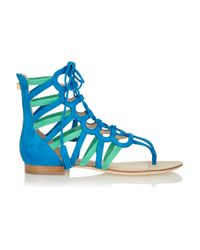 Emilio Pucci Blue Two-tone Suede Gladiator Sandals