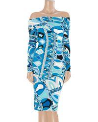 Emilio Pucci Blue Printed Pattern Dress