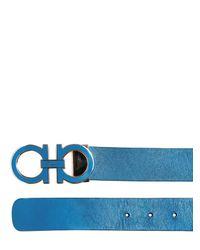 Ferragamo Black Reversible Leather Belt for men