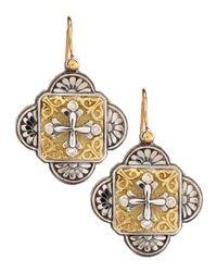 Konstantino - Yellow Diamondaccent Cross Earrings - Lyst