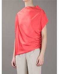 Lanvin | Gathered Zip Blouse | Lyst
