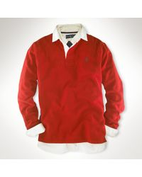 Polo Ralph Lauren | Red Custom-fit Fleece Rugby for Men | Lyst