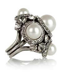 Lanvin White Glass Pearl and Crystal Ring