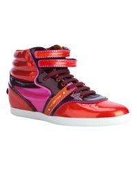 Sergio Rossi Red Paprika High Top Trainer