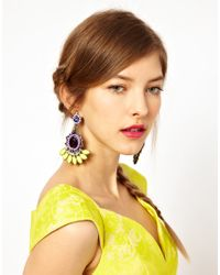 ASOS - Yellow Beaded Jewel Swing Earrings - Lyst