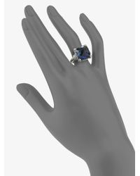 Judith Ripka | Metallic Blue Corundum & Sterling Silver Cushion Ring | Lyst