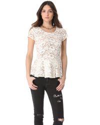Madison Marcus | White Top Lace Peplum | Lyst